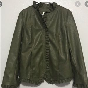 NWT Hot in Hollywood Faux Leather Jacket Green Sml